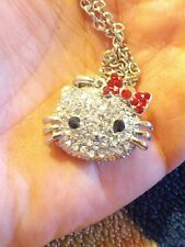 LARGE CLEAR CRYSTAL HELLO  KITTY NECKLACE W/ RED CRYSTAL BOW ( free H/K Ring)