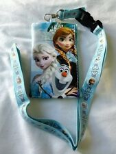 Disney Frozen LIGHT BLUE Wallet Lanyard Elsa Anna OLAF Badge ID Pouch Holder