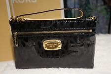 NWT Michael Kors $98 MK SIGNATURE JET SET MIRROR METALLIC Large Wristlet BLACK