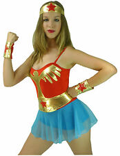 Wonder Woman Girl Wonderwoman Wondergirl Super Hero Fancy Dress Costume - M 8-10