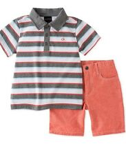 Calvin Klein Little Boys 2-Piece Striped Polo & Shorts Set Size 5T