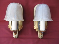 1931 ART DECO SLIP SHADE SCONCE PAIR - RIDDLE