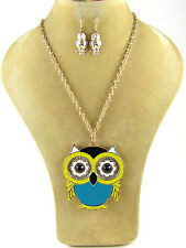 Blue and Yellow Enamel Gold Toned Owl Necklace With Dangling Earrings