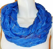 New Blue Light Weight All Season Chain Gliding Crinkle Infinity Scarf Loop Cowl
