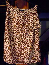 """""""ATTENTION """" WOMANS LARGE SLEEVELESS SUMMER TOP BROWN CHEETAH PRINT NWT"""