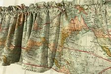 Vintage World Map Globe Curtain  Valance