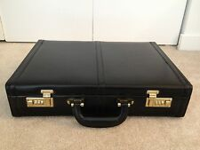 """Bonded Leather Attache Briefcase Black 18"""" x 13"""" x 4"""" with Combination Lock"""