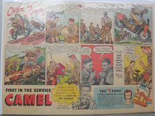 Camel Cigarette Ad: Army Motorcycle Corps Half or Tabloid Page