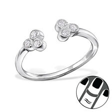 925 Sterling Silver Midi Toe Ring Clear CZ Flower Size 3.5 Adjustable Jewellery
