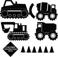 CONSTRUCTION TRUCK Set Kids Boys Children  Vinyl Lettering Words Wall  Decal