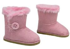 "Pink Button Shearling Ewe Uggly Fur Boots for 18"" American Girl Doll Clothes WOW"