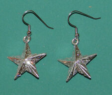 Silver Glitter Star Earrings Hypoallergenic Christmas Holiday Dallas Cowboys
