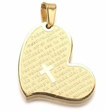 "Gold Stainless Steel Heart Prayer Padre Nuestro Cross Pendant Necklace 24"" s17"