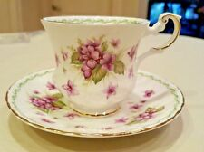 QUEENS ROSINA SPECIAL FLOWERS VIOLETS FINE BONE CHINA TEA CUP AND SAUCER NR