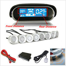 Silver 8 Sensors Dual-core Double LCD Display Autos Reverse Parking Radar System