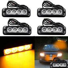 4x Super Bright Yellow/Amber 4-LED Flash Emergency Hazard Warning Strobe Light