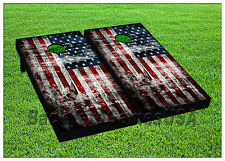 American Flag USA CORNHOLE BEANBAG TOSS GAME w Bags Game Boards Vintage Set 989