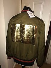 Zara Khaki Studded Bomber Jacket Gold Foil Back Size XL BNWT Sold Out