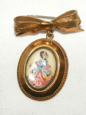 ANTIQUE VINTAGE HAND PAINTED THOMAS L MOTT BROOCH / PIN CRINOLINE LADY BOW BAR