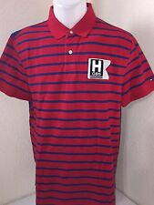 NWT, TOMMY HILFIGER MEN'S S/S CLASSIC FIT POLO SHIRTS- RED / NAVY STRIPES-LARGE