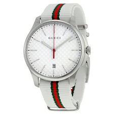 Gucci G-Timeless White Dial Fabric Strap Mens Watch YA126322