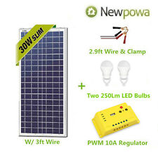 Newpowa 30W Watt Solar Panel With 3ft Wire + Controller 12V Charge Kit