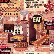 ARTHOUSE AMERICAN DINER RETRO 60S BRICK PATTERN RESTAURANT WALLPAPER 889600