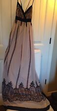 CHELSEA & VIOLET Printed Maxi Dress Small NWT Beige & Navy FREE ShIP Ret $118