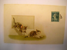 2 CATS PLAY TOGETHER antique used postcard CHROMOLITHOGRAPH