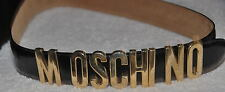 Vintage MOSCHINO by REDWALL BLACK LEATHER MOVABLE Letter BELT Jeremy Scott 46
