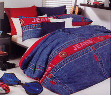 Logan & Mason Blue Jeans Single Size Quilt Cover Set New