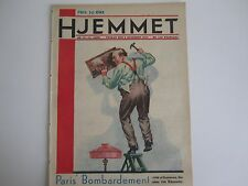 Beautiful old magazine cover: Handyman hanging picture up - red belts - ladder