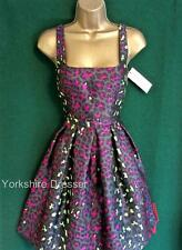 New CHRISTOPHER KANE £1250 Grey Pink Jacquard LEOPARD PRINCESS FitNflare DRESS 6
