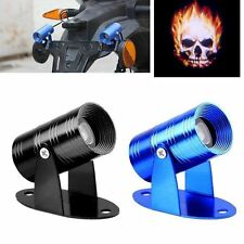 Universal 3D Motorcycle LED Ghost Laser Projector Flaming Skull Logo Light Black
