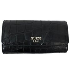 Guess Women's Cate Black Crocodile Slim Clutch Tri-Fold Wallet