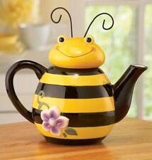 Bumble Bee Ceramic Teapot Kitchen Hot Tea Pot Canister Home Decor Stoneware