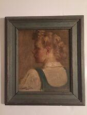 MYSTERY ARTIST SIGNED PORTRAIT PAINTING ANTIQUE Modernist FEMALE PORTRAIT
