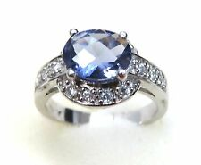 #R4138 2.5ct Oval Twilight Helenite White Gold Over 925 Sterling Silver Ring