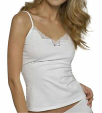 Womens Size 12 Figleaves White Cotton with Lace Cami Vest & Shorts/Knickers Set