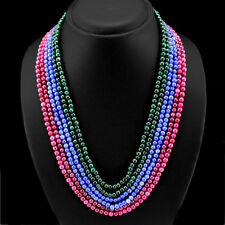 BRILLIANT GORGEOUS 482.00 CTS EARTH MINED RUBY, EMERALD & SAPPHIRE BEAD NECKLACE