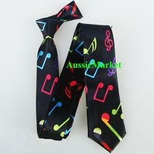 1 x mens skinny tie ladies girls boys shirt suit music note band dance party new