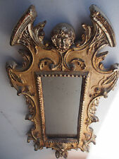 "27"" Antique 1800's Carved Wood Gargoyle Monster Angel Putti Baroque Gold Mirror"