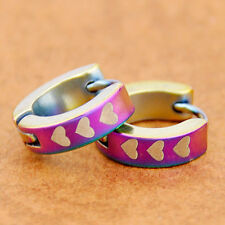 lovely heart Colorful Stainless Steel Hoop Earring SE141