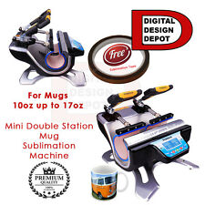 Mug Sublimation Machine Mug Cup Heat Press Double Station  FREE Transfer Tape