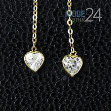 Damen Ohrringe Ohrhänger echt 333 er Gelb Gold Durchzieher Zirkonia 0,3ct Herz