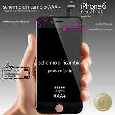 NERO TOUCH SCREEN VETRO SCHERMO + LCD DISPLAY ASSEMBLATO PER iPhone 6 4,7""
