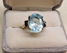 Signed CA Sterling Silver 925 Natural 10CT Aquamarine & Blue Sapphire Ring Sz 6