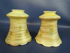 PAIR of ANTIQUE QUEZAL THREADED ART GLASS LAMP SHADES