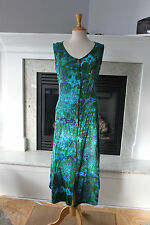 SILVER MOON CREATIONS Maui Batik Hawaiian Blue Green Sleeveless Sun Dress L