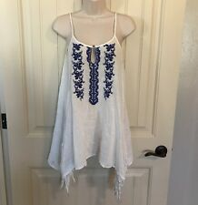 Women's Tunic Small FOREVER 21 Boho Embroidered Tassel Top Blouse Loose Fitting